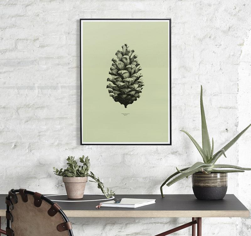 Pine Cone Light Forest Green Art Print