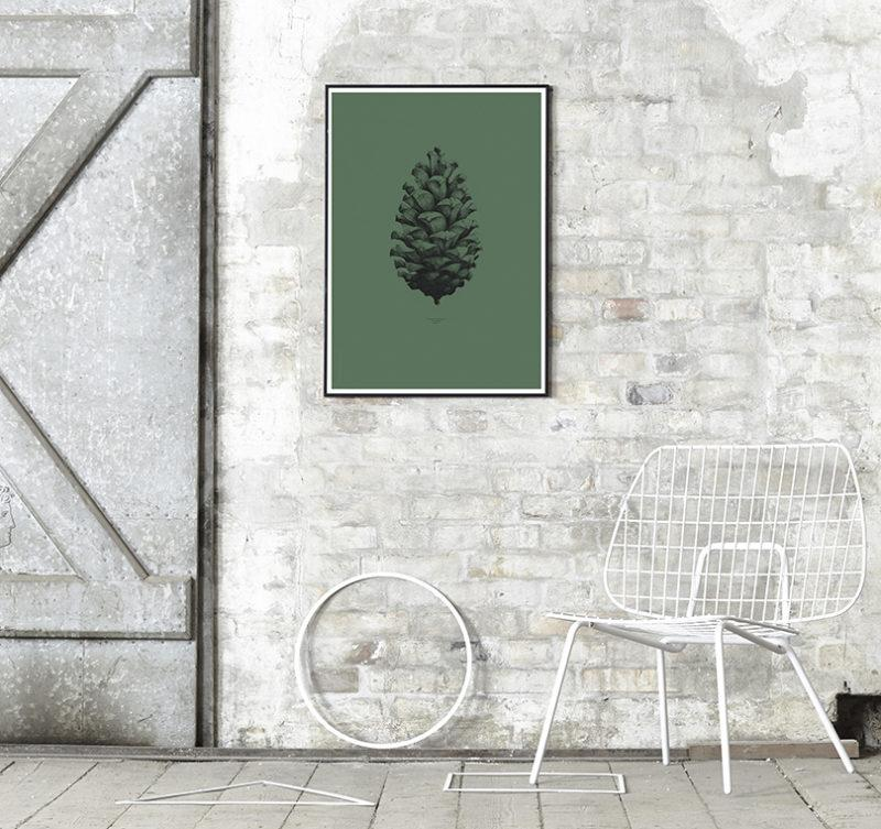 Pine Cone Dark Forest Green Art Print