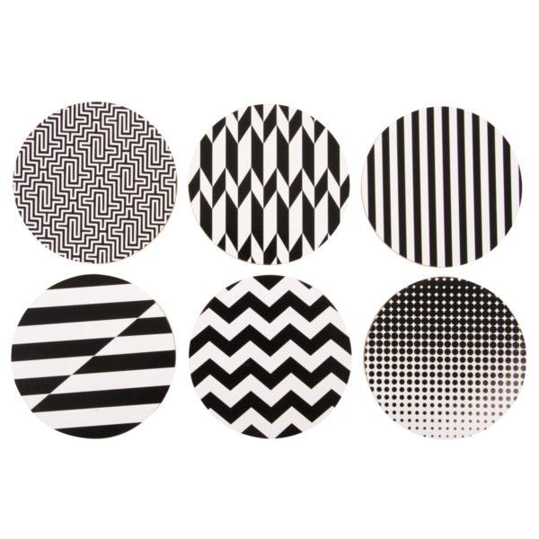 Set of 6 Black & White Graphic Cork Coasters