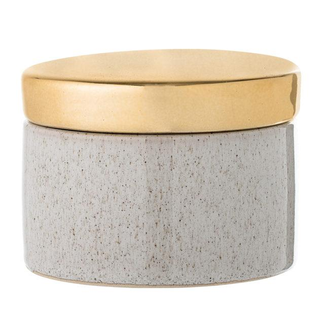 Nature Stoneware Jar with Gold Lid