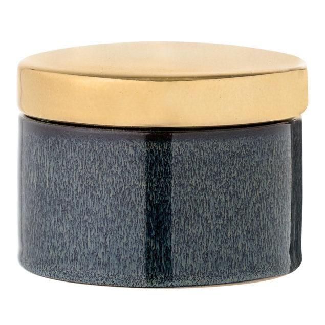 Blue Stoneware Jar with Gold Lid