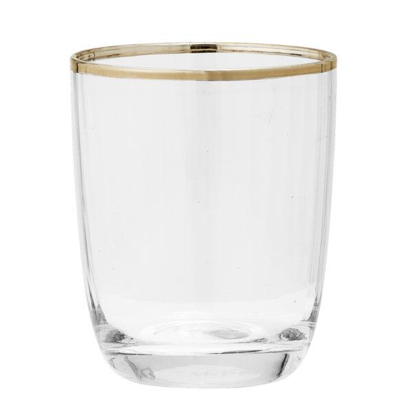 Clear Drinking Glass with Gold Rim