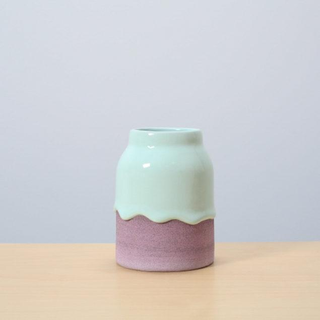 Mint/Grape Glazed Ceramic Drip Pot