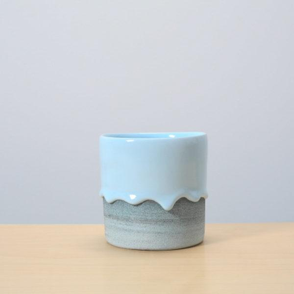 Powder/Denim Glazed Ceramic Drip Pot
