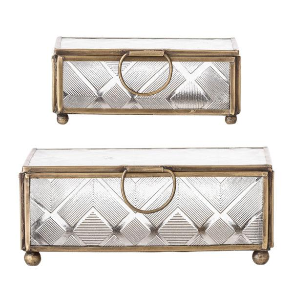 Decorative Brass & Glass box, set of 2
