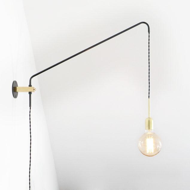 Modern Brass & Oxidised Steel Wall Lamp