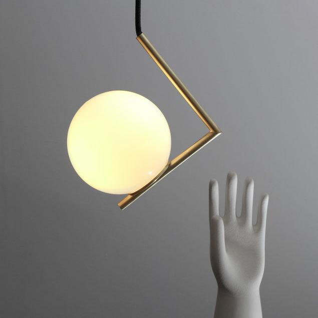 Modern Brushed Brass Geometric Pendant Lamp