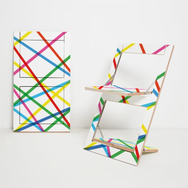 Fläpps Folding Chair – Coloured Lines
