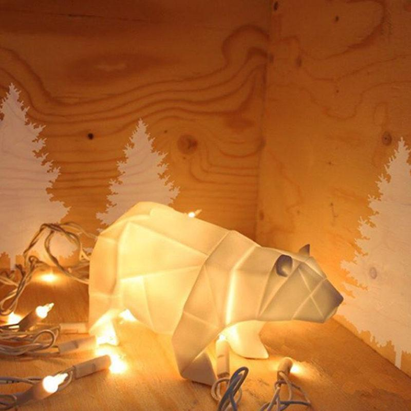 White Origami Bear Lamp
