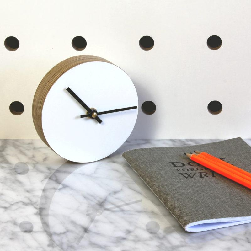 Birch Plywood Desk Clock - White