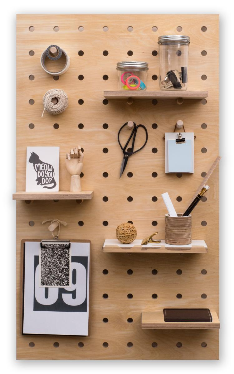 Peg-it-all Large Pegboard with Pegs & Shelves