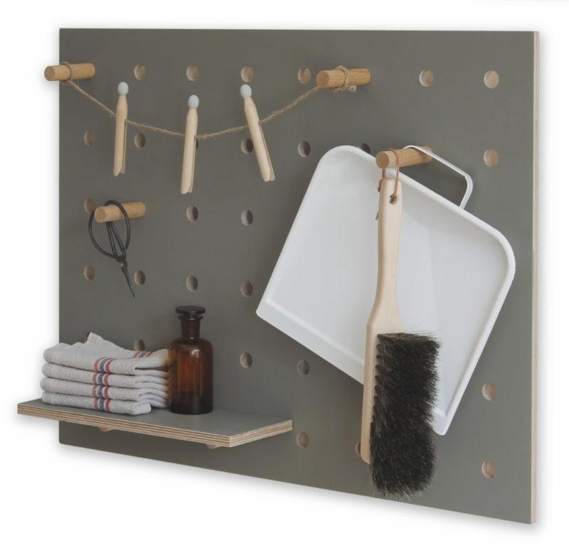 Peg-it-all Little Pegboard - Grey with Shelf & Pegs