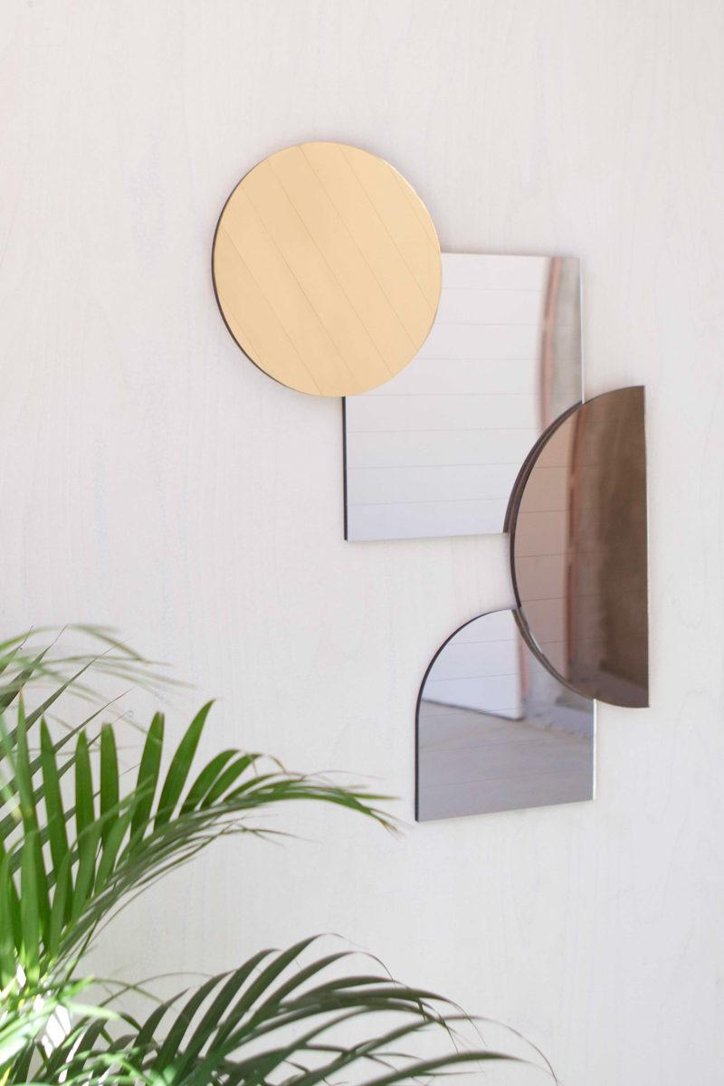 Mid Century Style Layered Mirrors - Gold Circle