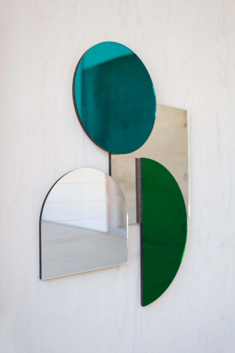 Mid Century Style Layered Mirrors - Teal Circle