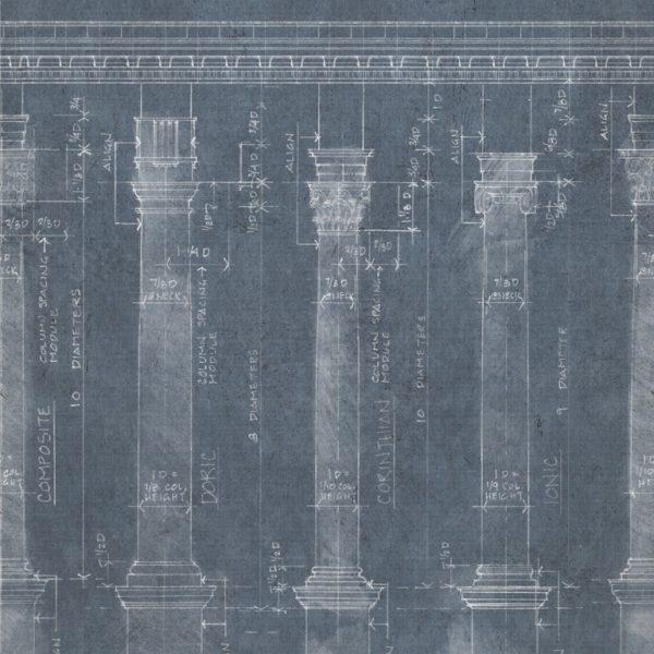 Colonnade Blue Wallpaper