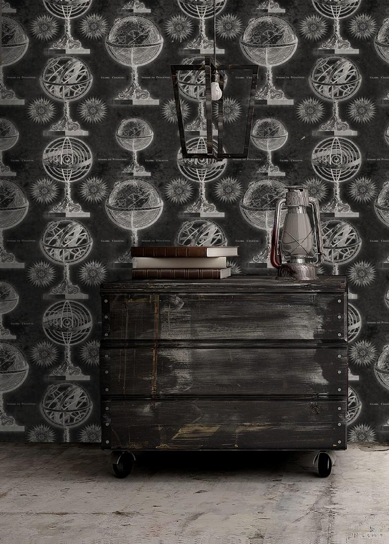 Armillary Black Wallpaper