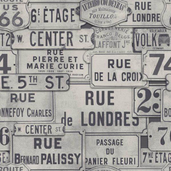 Street Signs Neutral Wallpaper