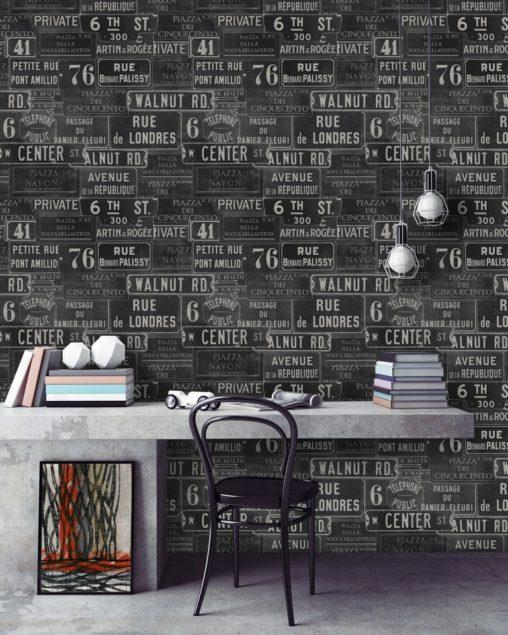 Vintage Signs Anthracite Wallpaper