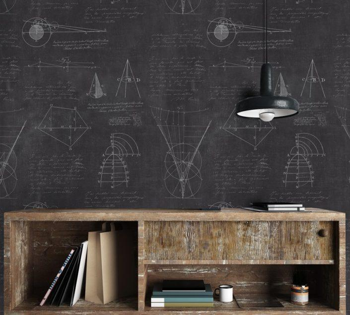 Newton Geometry Anthracite Wallpaper