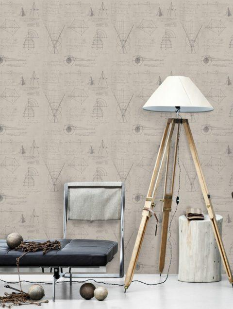 Newton Geometry Taupe Wallpaper