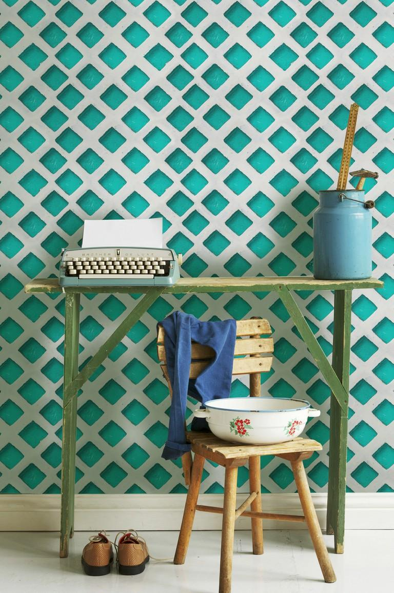 Turquoise patch Wallpaper