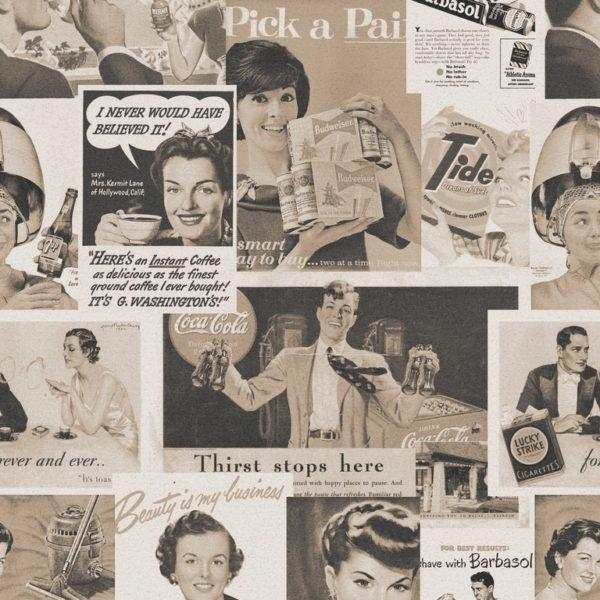 Retro Ads Sepia Wallpaper
