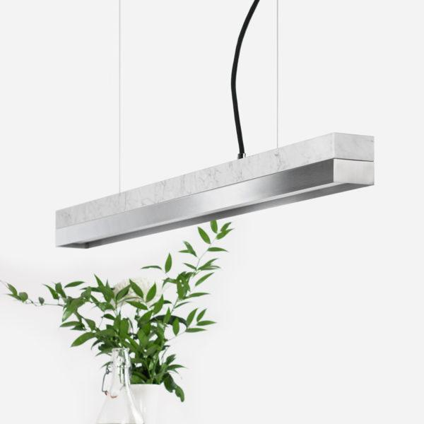 Marble & Stainless Steel Pendant Light