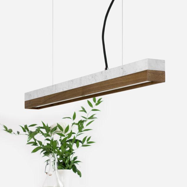 Marble & Walnut Pendant Light