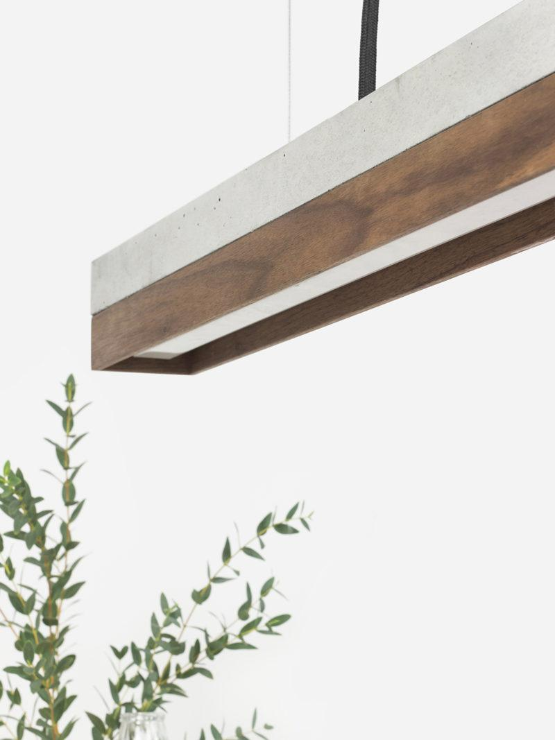 Concrete & Wallnut Pendant Light