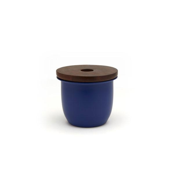 Small Container - Blue with Wooden Lid