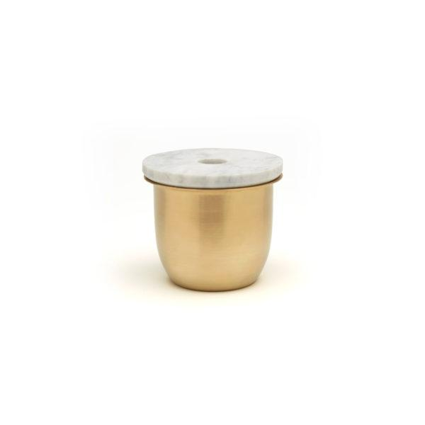 Small Container - Brass with Marble Lid