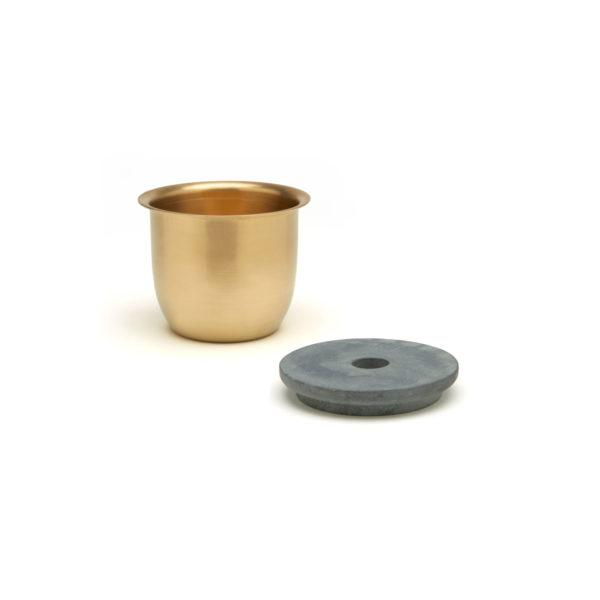 Small Container - Brass with Soapstone Lid
