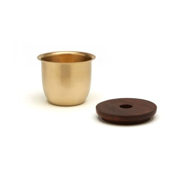 Small Container - Brass with Wooden Lid