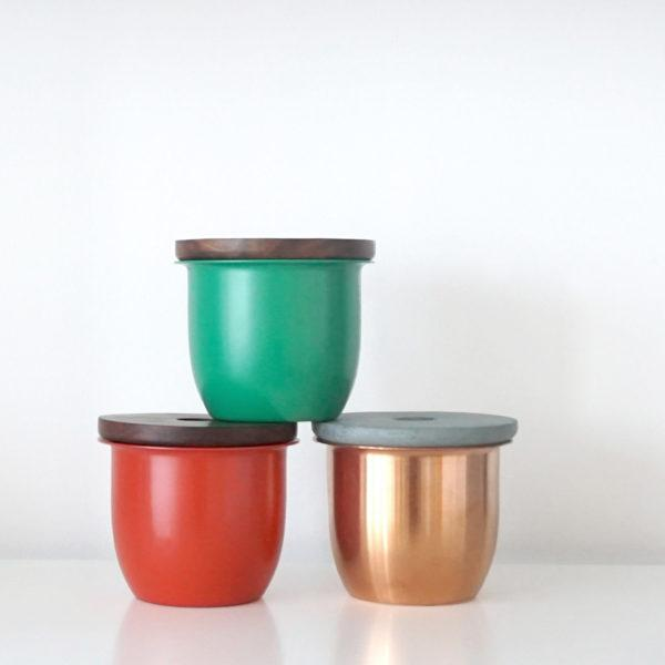 Small Container - Copper with Wooden Lid