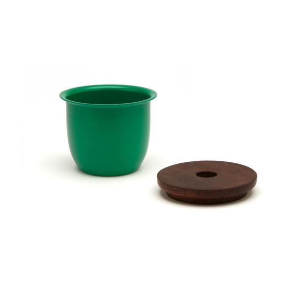 Small Container - Green with Wooden Lid