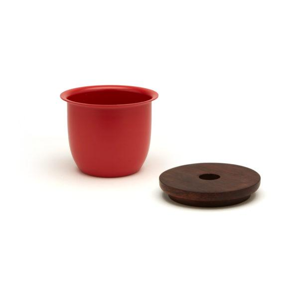 Small Container - Coral with Wooden Lid