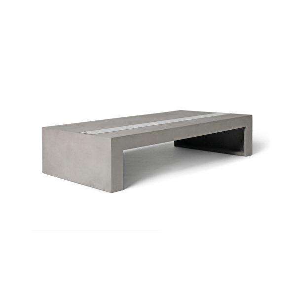 Concrete Rectangular Coffee Table with Tempered Glass