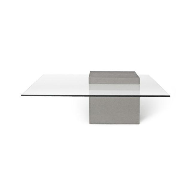 Concrete Coffee Table with Glass Top / Verveine