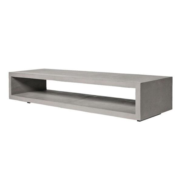 Concrete Monobloc TV Bench with Metal Legs