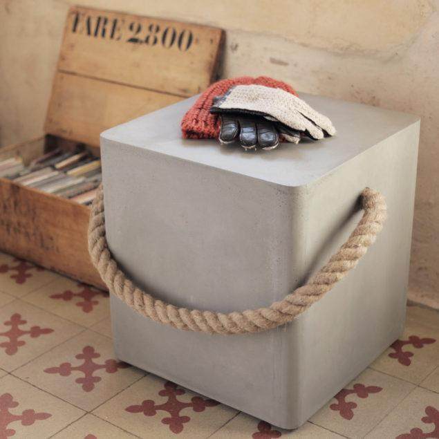 Concrete Soft Edge Stool with Wheels and Rope