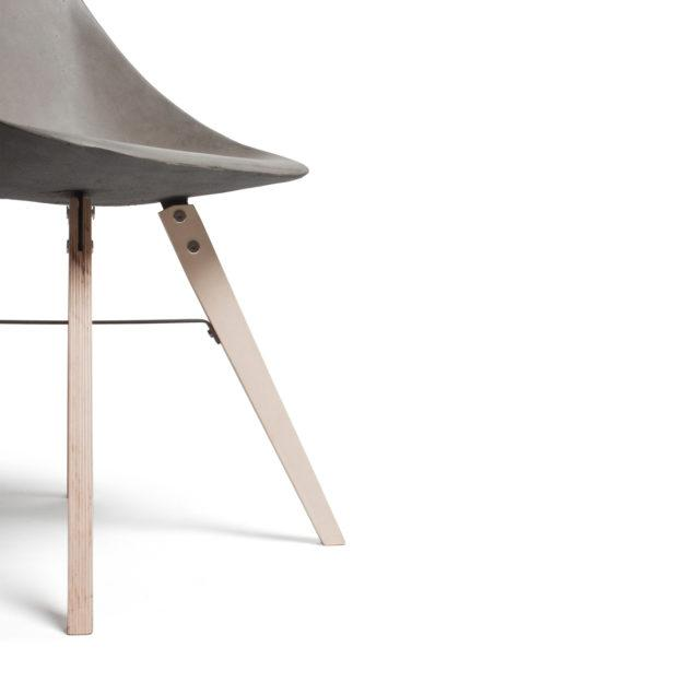 Concrete Hauteville Chair Wooden Legs
