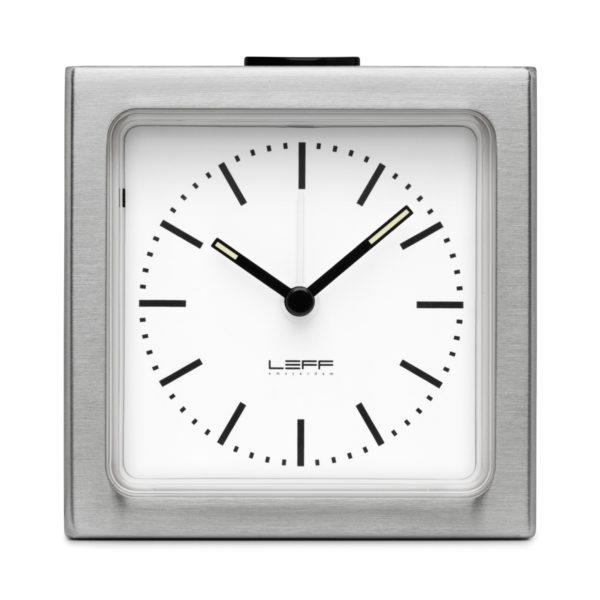 Block Alarm Clock - Steel/White
