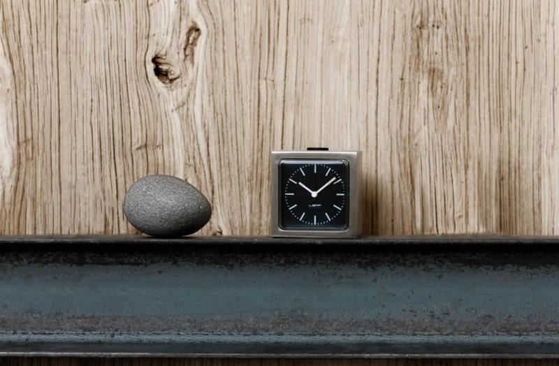 Block Alarm Clock - Steel/Black