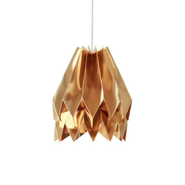 Origami Style Plain Paper Lampshade Warm Gold