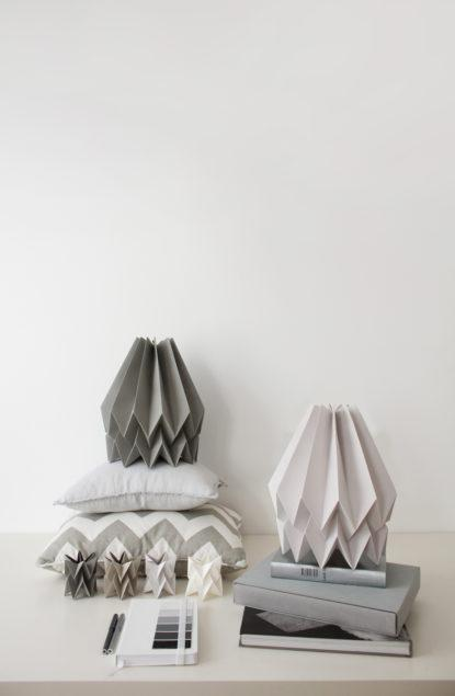 Origami Style Plain Paper Lampshade Light Grey