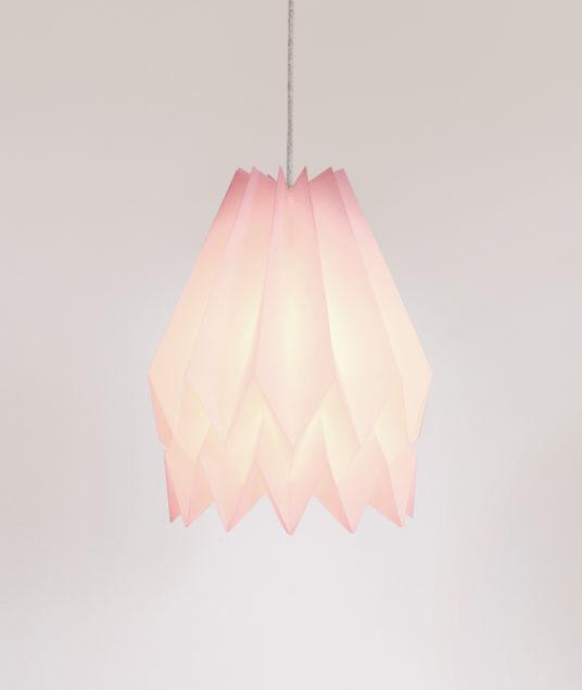 Origami Style Plain Paper Lampshade Pastel Pink