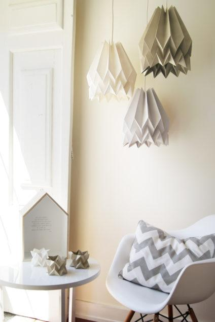 Origami Style Plain Paper Lampshade Light Taupe