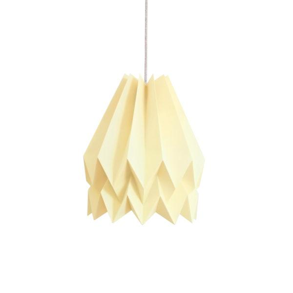 Origami Style Plain Paper Lampshade Pale Yellow
