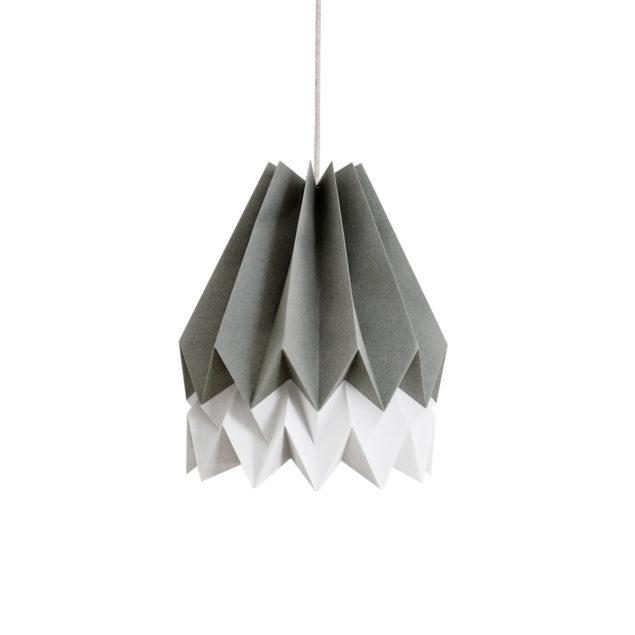 Origami Style Stripe Paper Lampshade Alpine Grey & Light Grey