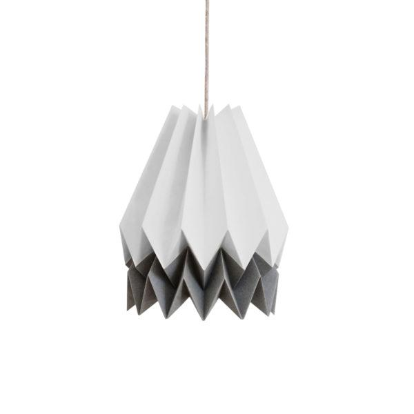 Origami Style Stripe Paper Lampshade Light Grey & Alpine Grey
